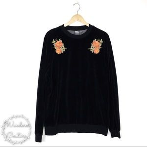 ASOS Floral Embroidered Velour Sweatshirt